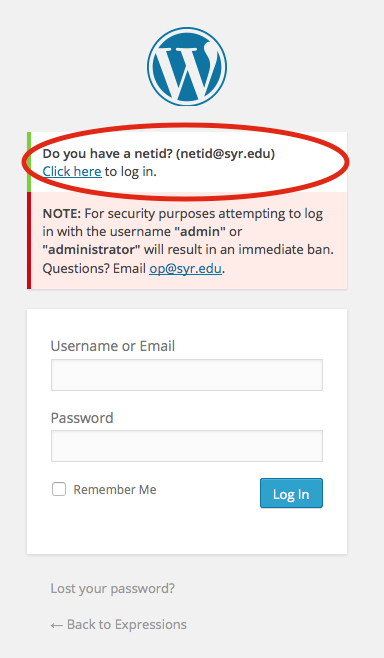 On the login screen, choose the option that asks if you have a NetID